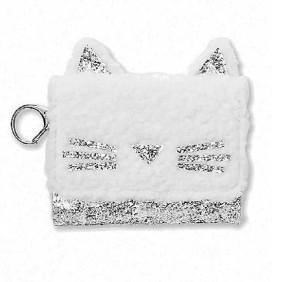 Justice Girls Unicorn Wallet Initial K Faux Fur White Green Pink New